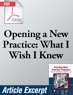 Opening a New Practice: What I Wish I Knew When I Started (.PDF)